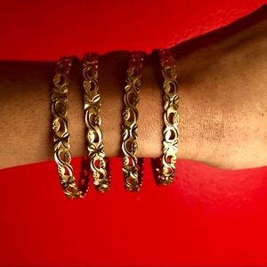 Gold Plated Oval Bangles